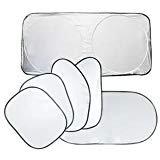 Auto-Fenster-Schattierung, doppelter Kreis, reflektierend, für Vorder- und Rückseite, UV-Schutz, 1 Set von 6 Stück