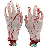 BESTOYARD Blutig Hände Cut Off Scary Bloody Fake Bestandteile Halloween Party Dekorationen Prop (Weiß Hände)