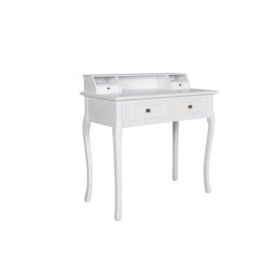 Tocador blanco estilo vintage barroco. Mesa de maquillaje con cajones.