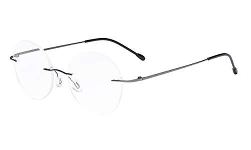 Eyekepper Randlose Brillen Damen - Runde Randlose Brillen Herren Rotguss +2.25