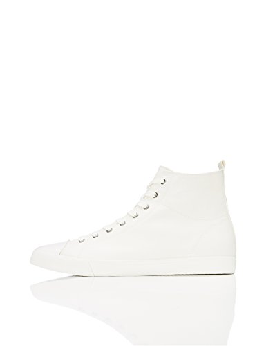 FIND Men's Lace up Baseball Hi-Top Trainers, White, 9 UK