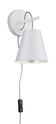 Trio Leuchten Andreus 207500189 Wandleuchte, Stoffschirm, Weiß Matt/Silber - Silber Wand-lampe
