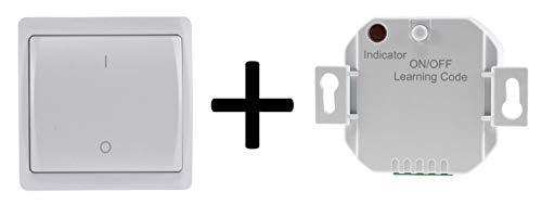 Funk-Schalter Set Pilota Casa Funk-Empfänger mit Funk-Wandschalter 230V LED bis 300 Watt Bis 70m Reichweite -