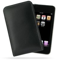 PDair Handarbeit Leder Vertical Tasche Hülle for Apple iPod Touch 3rd Fall 2009 (Black)