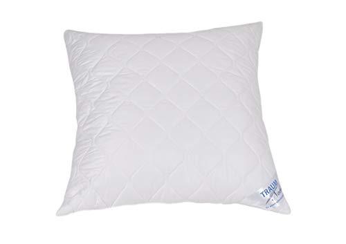 Traumnacht 5-Star Kopfkissen, weiches und bequemes, aus reinem Baumwolle-Satin, 80 x 80 cm, waschbar, weiß