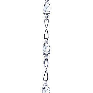 QP joailliers Bracelet diamant et Aigue-marine naturelle en or blanc 9carats, 1,15Carats Coupe ovale-3906W