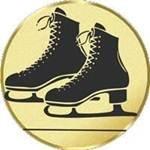 S.B.J - Sportland Pokal/Medaille Emblem, Motiv Schlittschuhe, Durchmesser 50 mm, gold