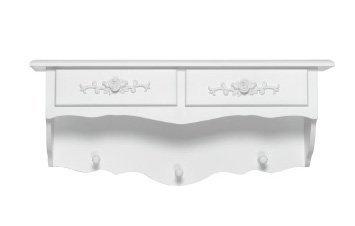 Mensola in legno bianco con due cassetti e appendini in stile vintage L'ARTE DI NACCHI GG-56