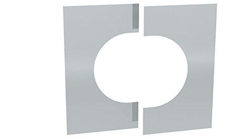 Wandblende / Deckenblende zweiteilig 0°- 30° für doppelwandige Schornsteine DW; Ø 130mm Innendurchmesser, Edelstahl -