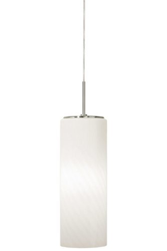 Cased Opal Shade (Stone Lighting PD186OPSNX5M Pendant, Satin Nickel Finish with Large Cased Opal Cylinder and Swirl Optic Shades by Stone Lighting)