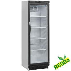 Flaschenkühlschrank, Getränkekühlschrank Doppelglastür ideal für Dosen, Bierflaschen und PET Flaschen 400 Liter mit Beleuchtung und Umluftkühlung, automatischer Abtauung, Belüfteter Verdampfer