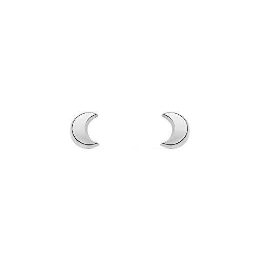 6065f33e9 Pendientes Bebe o Niña Oro Blanco media luna lisa (9kts)