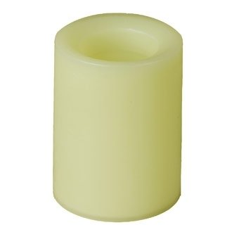 Candle Impressions CE702 Flameless Champagne Wax Pillar Candles, Short