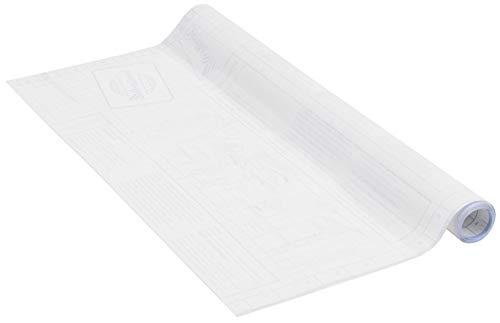 Buchschutzfolie selbstklebend mit Raster/Gitterlinien als Schneidehilfe, ideal für Schulbücher, transparent, ohne Phthalate, 45cm x 2m, 90µm (Stärke: 0,090 mm), Venilia 53188