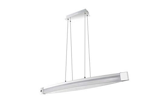 WOFI Pendelleuchte, 1-flammig Vannes 1 x LED / 30 W, 13 x 150 x 90 cm, 3000 k, 1900 lm, Energieeffizenzklasse A 3-Stufen-Touch-Schalter, chrom 7625.01.01.0900