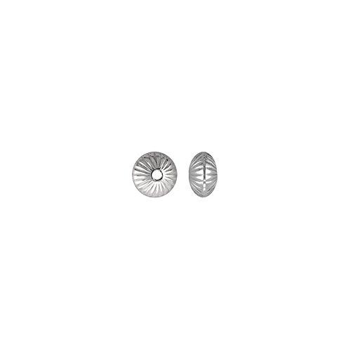 Perle Untersetzer (Sterling Silber 8,9 mm Gerillt Untersetzer Perle (6 Stück))