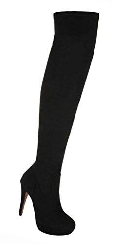 Damen Schuhe Overknee Stiefel High Heels Stiletto Plateau Schwarz Schwarz
