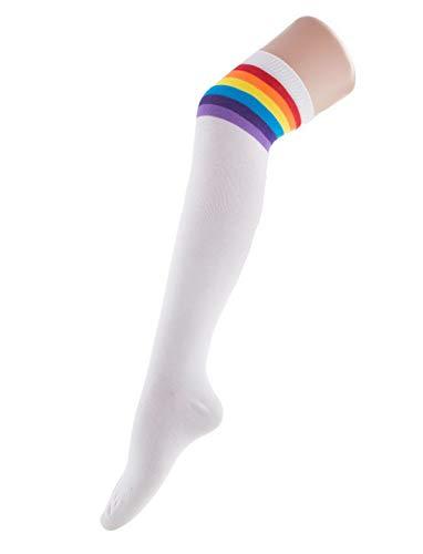 Halloweenia - Kostüm Accessoires Zubehör Ringel Über-Knie-Strümpfe im Regenbogen Look, Overknee Stockings Rainbow, perfekt für Karneval, Fasching und Fastnacht, Weiß