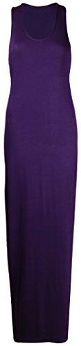 Neues Damen Maxi Kleid Muskel Racer Rücken Top Ärmellos Runder Ausschnitt Stretch Einfarbiges Maxi Kleid Übergröße Violett