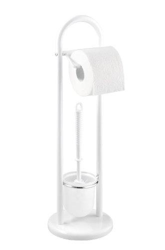 WENKO 17092100 Exclusiv Stand WC-Garnitur Siena Weiß, Stahl, 19 x 63 x 19 cm, Weiß