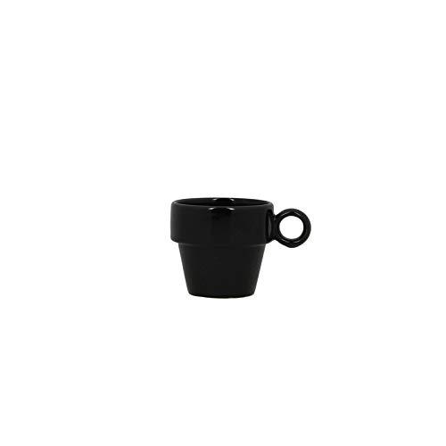 TheKitchenette Lot de 6 Tasses a Cafe 10cl Faience empilable Anna Noir