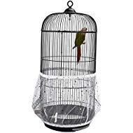 QBLEEV Vogelkäfig Samenfänger Netz Vogelkäfig Samen Rock Guard Netz Abdeckung Shell für runde Vogelkäfige, weiß