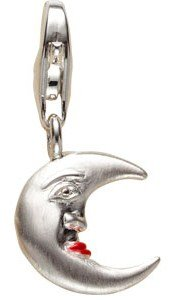 Charm Mond 925 Silber Emaille