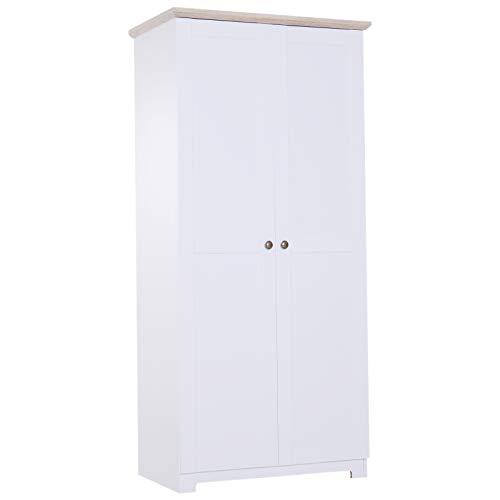 HOMCOM Aufbewahrungsschrank Mehrzweckschrank Kleiderschrank Wäscheschrank Kommode 4 Fächer 2 Türen Holz Weiß 80 x 48 x 172 cm -