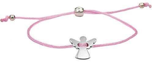 Milosa Schutzengel Armband silber, handmade & größenverstellbar, Glücksbringer für Frauen & Mädchen, Engel Anhänger, Armbänder Makramee:Rosa (Armband Mit Glücksbringer)