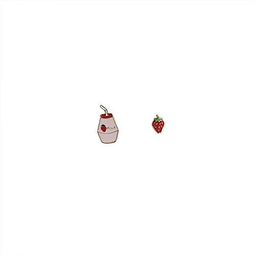 Jjlezl Super Süß, Kindlich, Süß, Erdbeere, Milch, Ohrringe, Weiblich, Klein, Frisch, Asymmetrisch, Interessant, Tropfenglasur, Ohrringe
