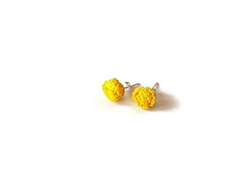 (Gelbe Ohrringe Rosen Ohrstecker Schmuck Blumengeschenk für ihre handgemachte häkeln Natur)