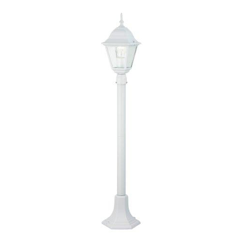 Brilliant Newport 44285/05 - Lampione da esterni, 1 x E27 max. 53 W, in metallo e vetro, colore: Bianco