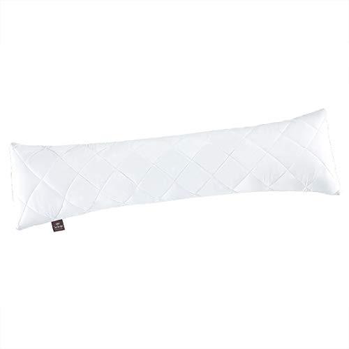 sei Design Classic Dream' cuscino traversina laterale in microfibra 140 x 40 cm, bianco, trapuntato, cubo