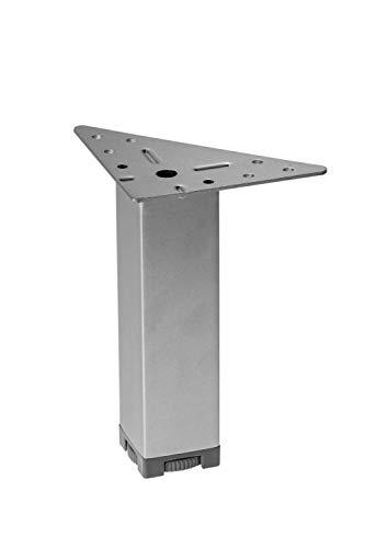 Gedotec Moderner Eck-Möbelfüße MARIE aus Metall | Höhe 150 mm | höhenverstellbarer mit Regulierschraube | Design Schrankfuß verchromt matt | Sockelfüße mit Dreieck-Anschraubplatte | 4 Stück