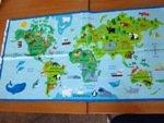 Timeless Treasures First Class quilting Coton carte du monde avec les animaux C6164 60 x 110 cm