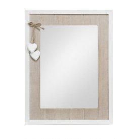 Specchiera di legno bianca con richiami color legno stile vintage L'ARTE DI NACCHI AD-215