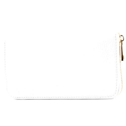 Clutch Aus Weißem Leder Handtaschen (modamoda de - P02 - ital. Damen Portemonnaie Echtleder lang, Farbe:P02 Weiß)