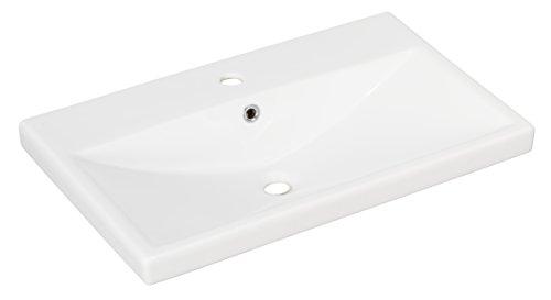 FACKELMANN Waschbecken Stanford/Waschtisch aus Keramik/Maße (B x H x T): ca. 70 x 16,5 x 45 cm/Einbauwaschbecken/hochwertiges Becken fürs Badezimmer und WC/Farbe: Weiß/Breite 70 cm