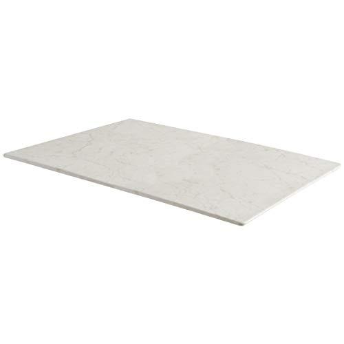 Tischplatte Finando rechteckig, 120x80 cm (LxB), weiß/marmoriert, rechteckig - Marmor Tischplatte