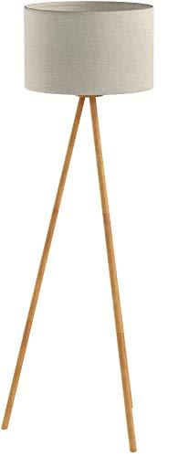 Tomons Lampadaire sur Pied LED en Bois à Trépied pour Salon Chambre Bureau Lin