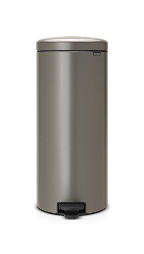 Brabantia 114441 Poubelle à Pédale Newicon avec Seau en Plastique, 30 L - Platinum