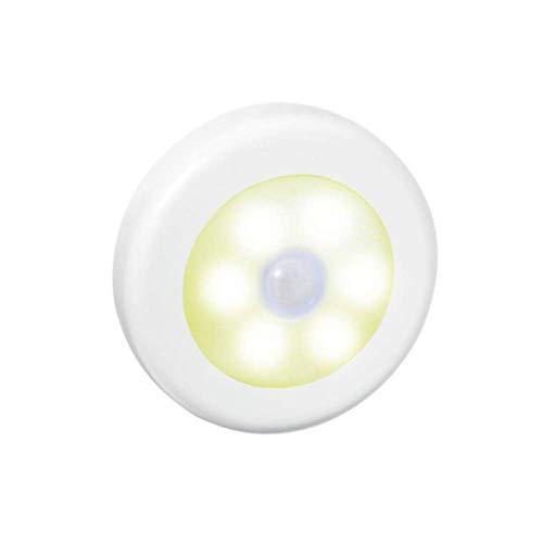 JCZR Induktionslampen-Schranklicht des Intelligenten LED-Lichtsteuerungs-menschlichen Körpers Runde Induktionslampe,White1-PC-81x81x18(mm)