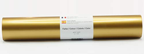 Selbstklebende Plotterfolie Vinylfolie 30,5 cm x 3 m glänzend 39 Farben zur Auswahl, Farbe:Gold
