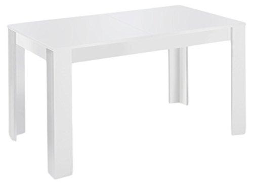 Cavadore Tisch Nick / Moderner Esstisch mit ausziehbarer Tischplatte / Melamin weiß / Resistent gegen Schmutz / 160-200 x 90 x 75 cm (L x B x H)
