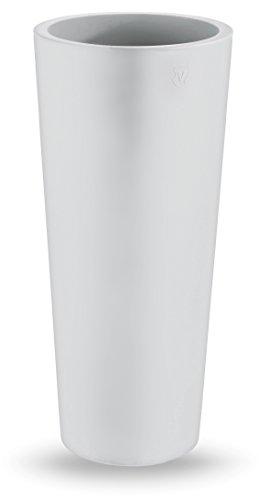 Vaso Tondo moderno liscio Ø38xh 85 cm in resina cache-pot BIANCO