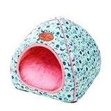 thematys Colchoneta Material de Felpa Cama de Almohada Lavable y Resistente a los arañazos para Perros y Gatos (L, Azul)
