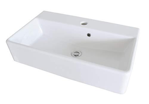 FACKELMANN Keramik Waschbecken/rechteckiger Waschtisch aus Keramik/Maße (B x H x T): ca. 60 x 13 x 35 cm/kubische Form/hochwertiges Becken fürs Bad und WC/Farbe: Weiß/Breite: 60 cm