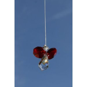 Swarovski Hanging Crystal Guardian Angel Birthstone Suncatcher JULY - RUBY - Cristallo Rosso Emblem