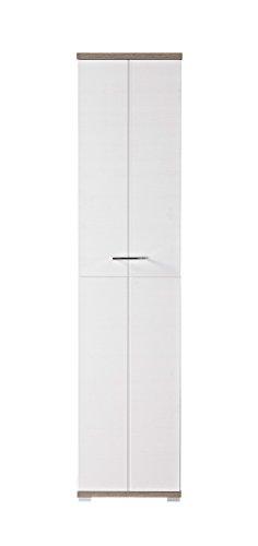 Garderobenschrank in Silbereiche-Nachbildung mit abgesetzter Front in weiß mit Struktur, Maße:...