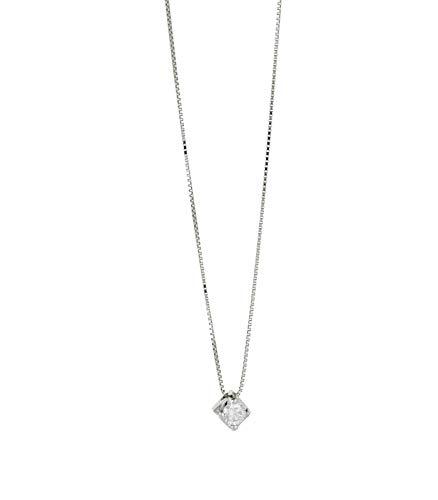 31a9b54071ad7d Gioielli di Valenza Collana Punto Luce in Oro Bianco 18 k con Diamante CT. 0